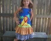 Custom Applique Disney Lion King Feliz Knot dress SIze 4 5 6 7 8