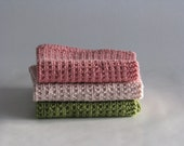 Hand knitted dish cloths - wash cloths - soft cotton set of 3 coral rose green