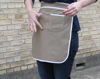 Women's soft brown half apron - clean and simple style