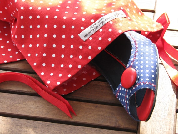 Red Drawstring Bag with White Polka Dots - set of 2