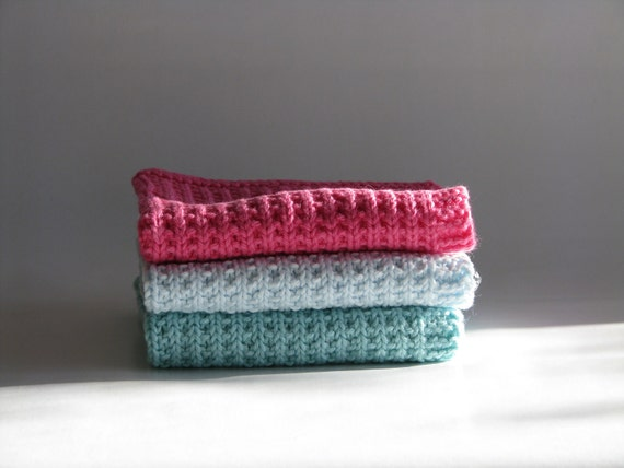 Hand knitted dish cloths - wash cloths - soft cotton set of 3 - green mint pink