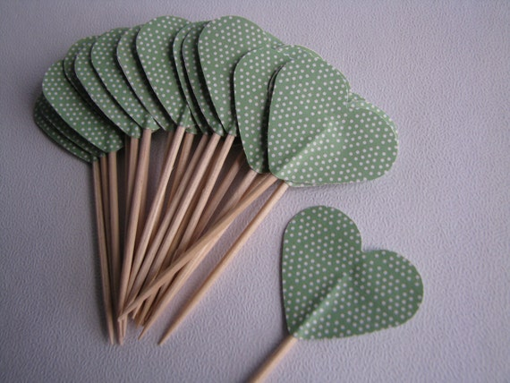 SALE - Cupcake topper - food pick - tooth pick heart shaped green - 20 pcs