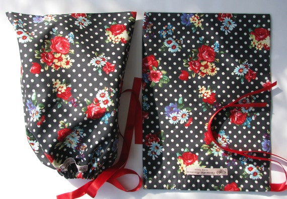 Grey drawstring shoe bag roses and polkadots - lingerie bag
