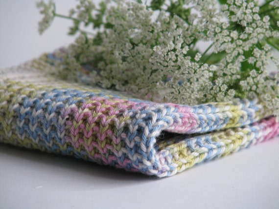 Dish cloth - wash cloth - soft knitted cotton pastel multicolored