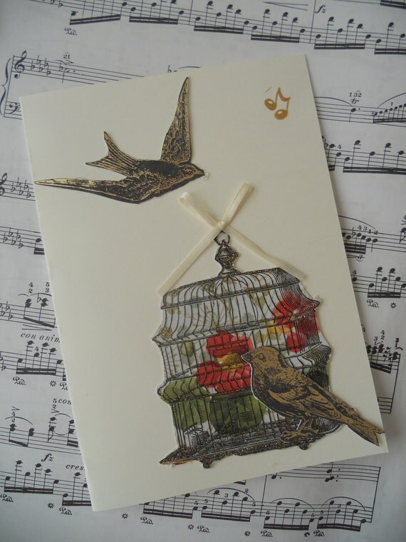 OOAK Blank Note Card, Sparkling Bird, Birdcage, Ribbon Bow 5x7