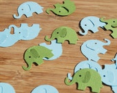 Elephant Confetti - Baby Boy - Blue and Green - Set of 50