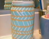 Tall Chevron Sparkle Mint Glass Jar - peachykeehn13