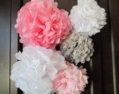 Tissue Paper Pom Poms, Weddings, Showers and Parties... Set of 5...YOU PICK COLORS