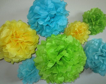 Tissue Paper Pom Poms, Weddings, Showers and Parties.. Set of 7 ...YOU PICK COLORS