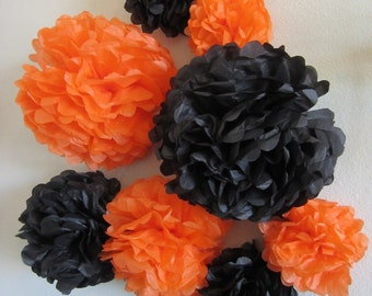 Set of 8 spooky Halloween Tissue Paper Pom Poms...YOU PICK COLORS