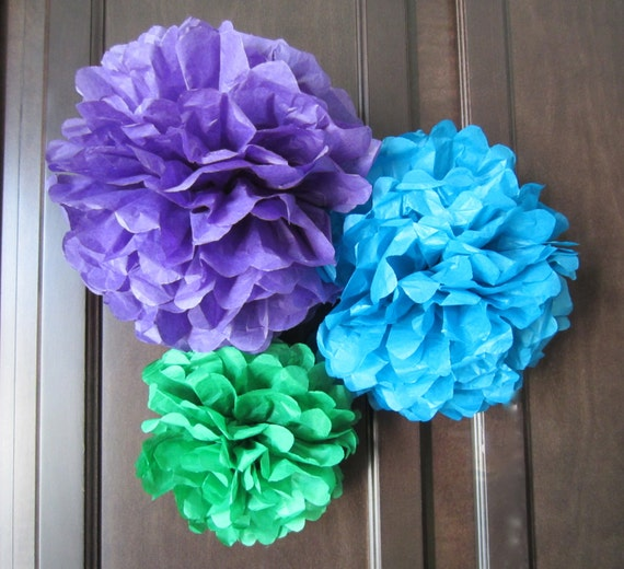 Tissue Paper Pom Poms, Peacock, Bridal, Wedding and Showers.. set of 3 ...YOU PICK COLORS