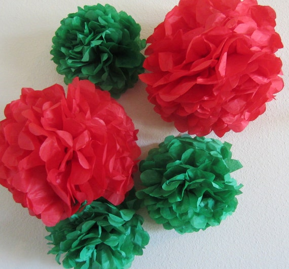 Tissue Paper Pom Poms Set of 5  ...YOU PICK COLORS