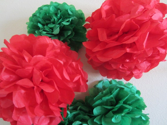 Tissue Paper Pom Poms, Holiday, Party, Weddings and Showers... SET of 10...YOU PICK colors