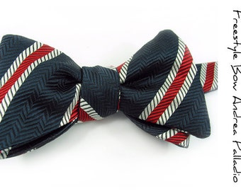 self-tie Mens Bow Tie Navy Blue and Red striped Silk bowtie