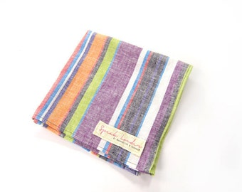 Mens Pocket Square Orange Purple Grey Stripe