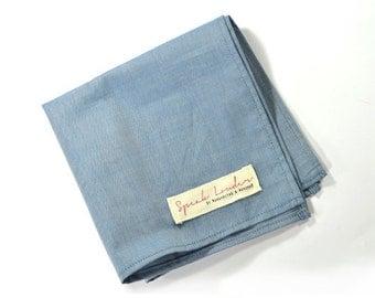 Mens Pocket Square blue denim chambray-Johnny Guitar