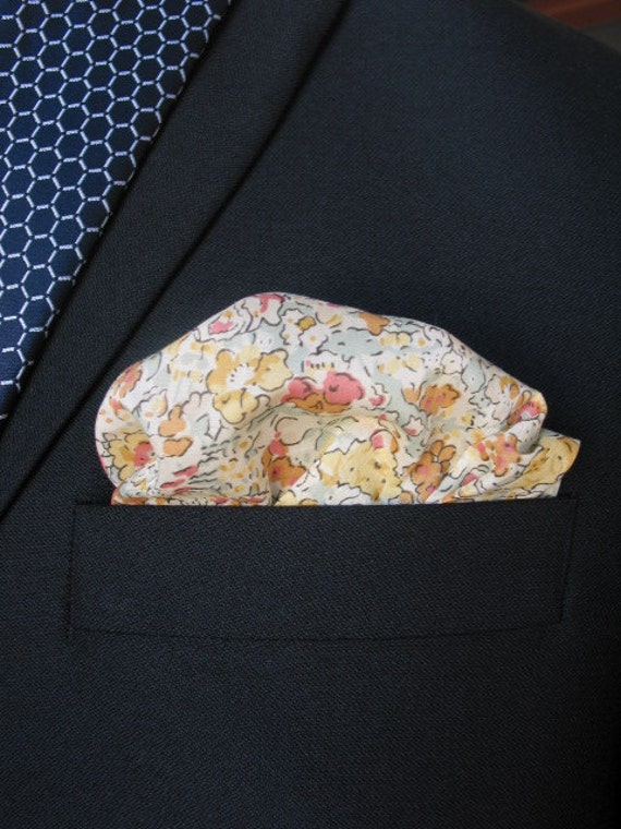 Wedding Mens Pocket Square Pale yellow and green