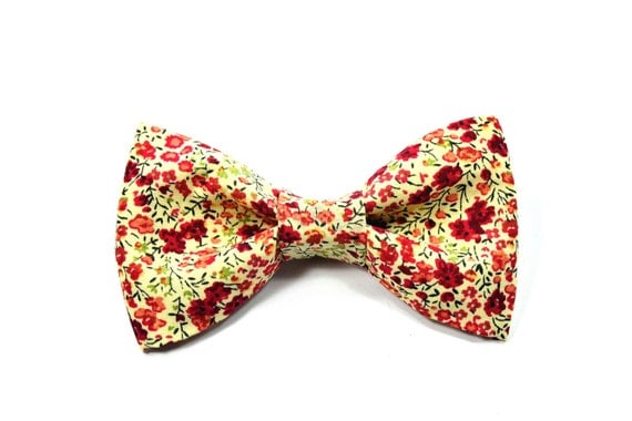 Mens Clip-On Bow Tie  Red and cream flowers bowtie