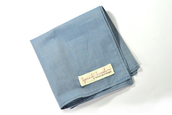 Mens Pocket Square blue denim chambray-Johnny Guitar