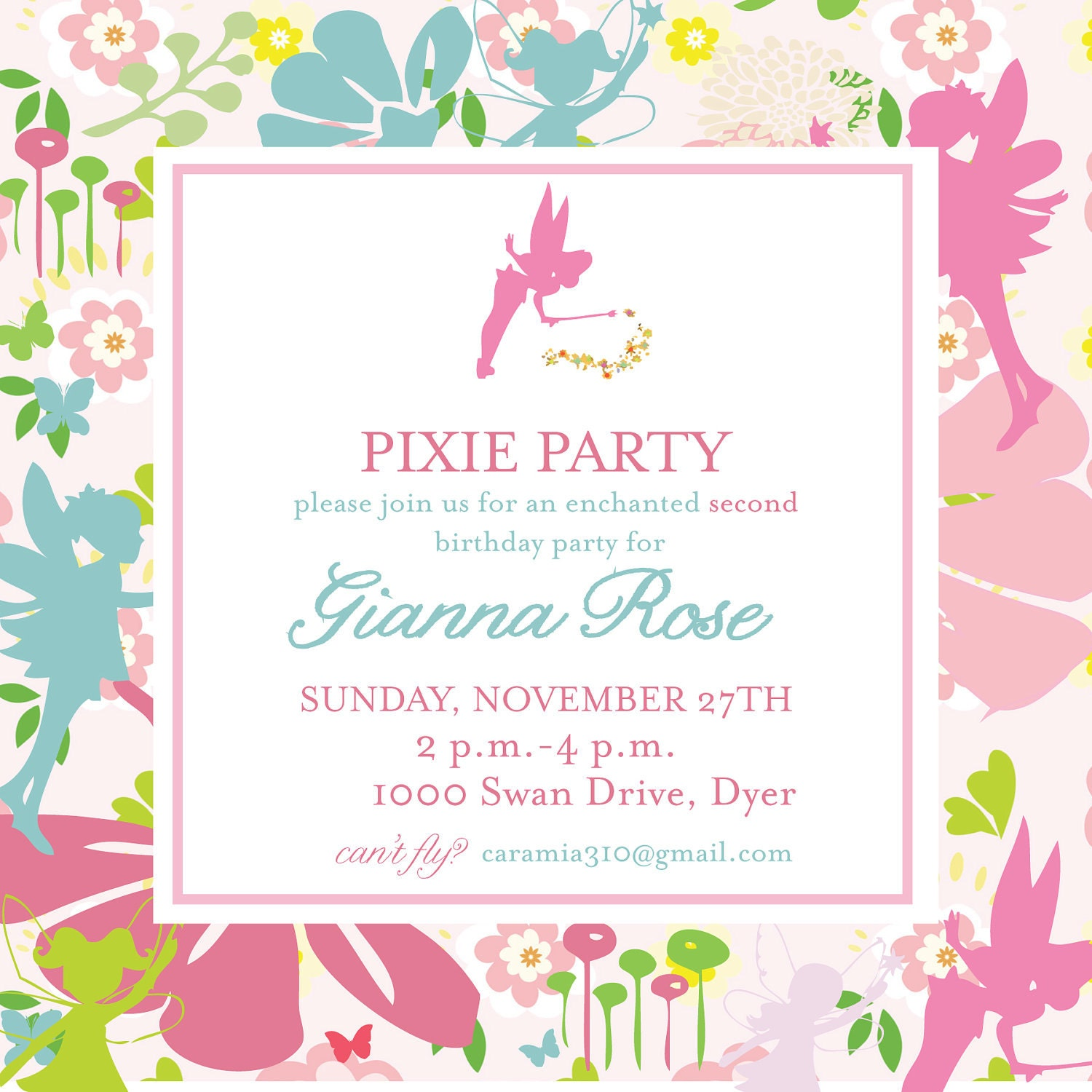 Pixies and Pirates Invitation Tinkerbell – Tinkerbell Party Invitation Ideas