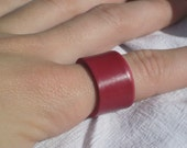 Vintage Rare Red Vinyl Record Unisex Rings Set of 2- Upcycled Jewelry
