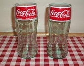 15% off Christmas Deal Coca-Cola Glasses Recycled from Glass Bottles pair
