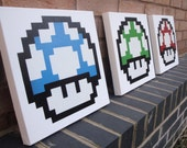 Mario Mushrooms - 3 Canvases handmade with Spray Paint & Stencils