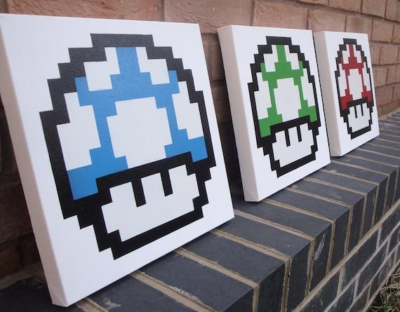 Mario Mushrooms - 3 Canvases handmade with Spray Paint & Stencils