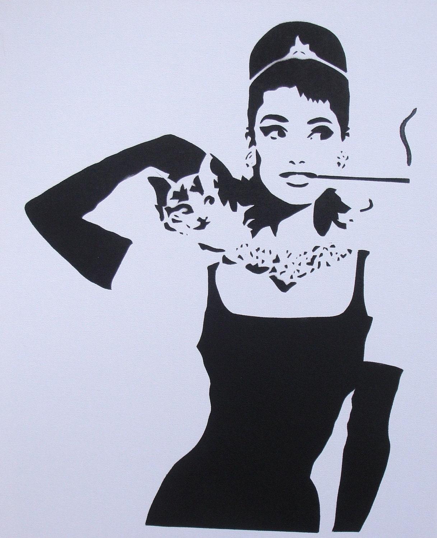 Audrey hepburn painting on canvas white - Laminas audrey hepburn ...