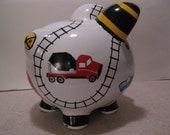 Personalized, Handpainted, Train & Matchbox Piggy Bank - Train Tracks w/ Train, Matchbox Cars,  Hightops - MADE TO ORDER