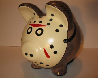 Personalized, Handpainted, Jason Voorhees/Friday the 13th  Piggy Bank - MADE TO ORDER