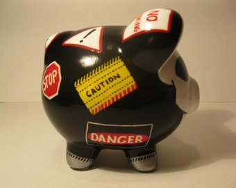 """Personalized, Handpainted, Small Piggy Bank - """"Danger"""" - MADE TO ORDER"""