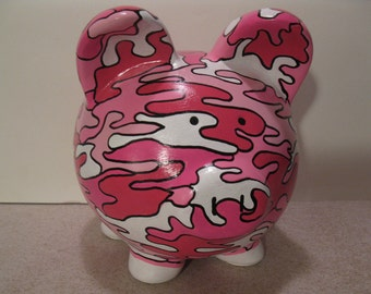 Pink Camo piggy bank, Personalized, Handpainted, Camouflage Piggy Bank - Pink - Personalization Included - MADE TO ORDER