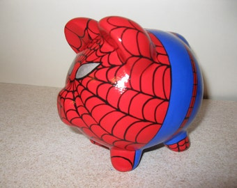 Spiderpig Piggy Bank - Inspired by Spiderman - (Unofficial) - Personalized and MADE TO ORDER