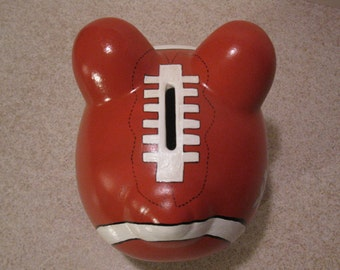 Personalized, Handpainted, PIGSKIN - Piggy Bank - Customized w/name, number, or just about anything.....Made To Order