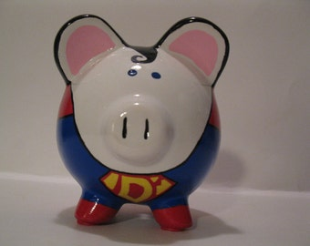 Personalized, Handpainted, Small Superhero SuperPig Piggy Bank - Inspired by Superman(Unofficial) Personalized and MADE TO ORDER
