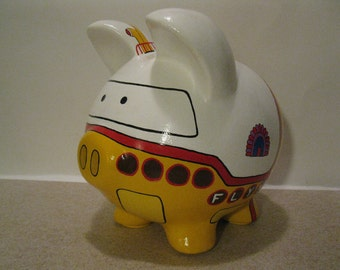 Personalized, Handpainted, Yellow Submarine Piggy Bank - Large - MADE TO ORDER