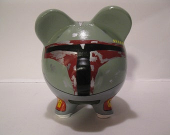 Personalized, Handpainted, Small Boba Fett Piggy Bank - (Inspired by Star Wars) MADE TO ORDER