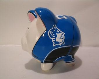 "Personalized, Handpainted, Basketball Uniform -  ""Duke Blue Devils"" - Piggy Bank - MADE TO ORDER"
