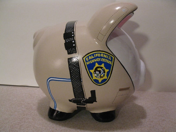 "Police State Trooper ""Pigs"" Piggy  Banks - Large - Personalized &  MADE TO ORDER"
