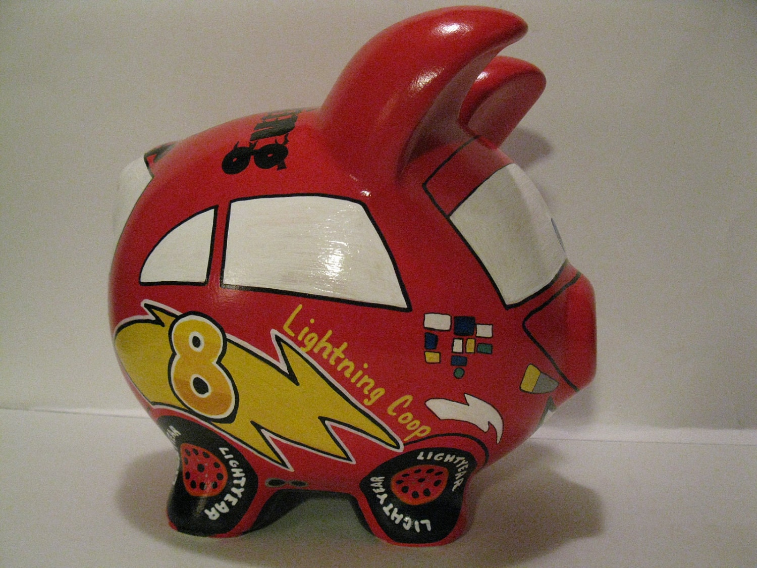 Race car piggy bank kids personalized piggy banks made to for Piggy bank for toddlers
