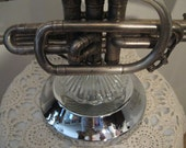 Signed Vintage Silver Cornet Table Lamp 110v  W/ Textured Glass Shade For That Music Lover  No. 602