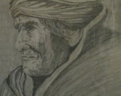 Original Signed Pencil Drawing by St Onge of Wise Old Indian Framed Artwork 1980