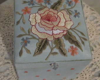 Vintage Light Blue Linen Silk, Floral Embroidered, Jewelry Box with a Mirror