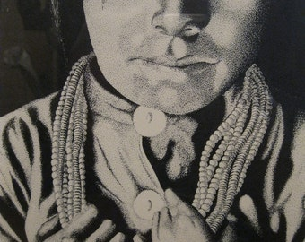 Navajo Girl Limited Edition Signed & Numbered Print of Pen and Ink Drawing done by a series of dots by artist Bob Golledge matted and Framed