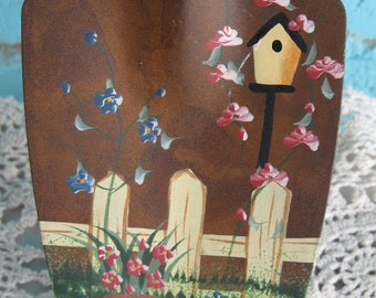 Vintage Hand painted Garden Trowel with Birdhouse and Flowers