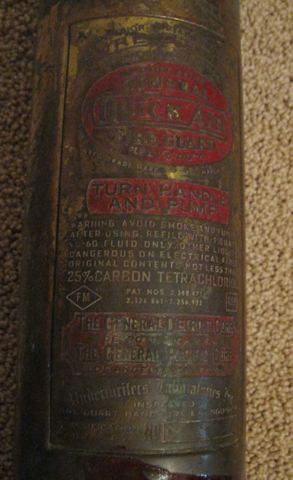 Antique Brass Hand Pump General Quick Aid Fire Guard Extinguisher Model no 85HD General Detroit Corp General Pacific Corp