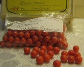 For :olga i  Only   Coral Color Vintage Glass Balls Round 7 m/m Made in West Germany 1 gross