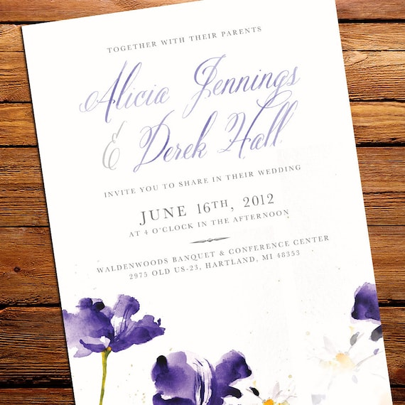 Watercolor Flower Painting Wedding Invitation