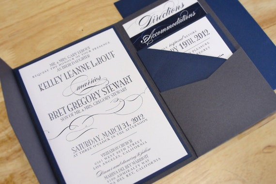 Pocketfold wedding invitations, script wedding invitation, classic wedding invitation, Classic Script Wedding Invitation Set with Pocketfold